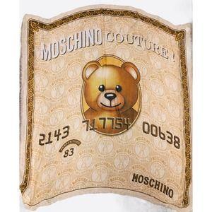 MOSCHINO Bear Credit Card Silk Chiffon Scarf 54x54